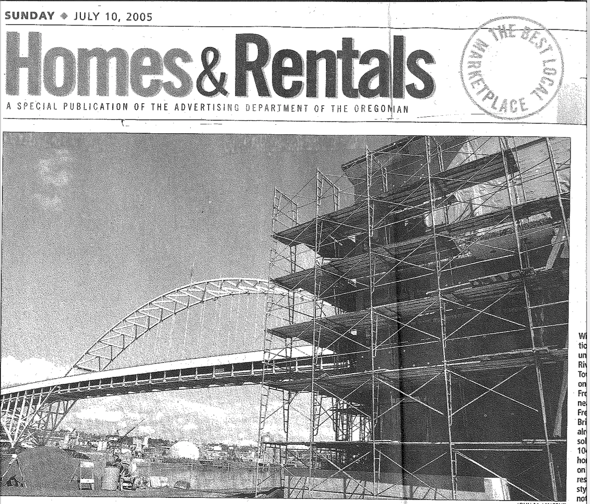 PRESS-SOWA-Waterfront-Condo-Wave-Homes-Rental-Oregonian-07-10-2005