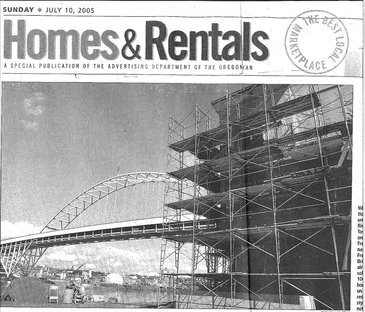 PRESS-SOWA-Waterfront-Condo-Wave-Homes-Rental-Oregonian-07-10-2005